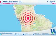 Sicilia: scossa di terremoto magnitudo 2.7 nei pressi di Bisignano (CS)