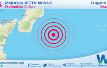 Sicilia: scossa di terremoto magnitudo 2.6 nel Mar Ionio Settentrionale (MARE)
