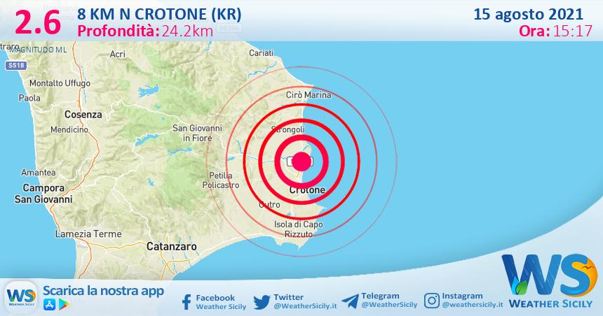Sicilia: scossa di terremoto magnitudo 2.6 nei pressi di Crotone (KR)