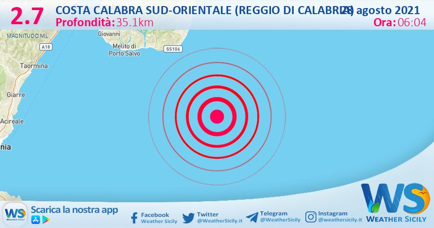 Sicilia: scossa di terremoto magnitudo 2.7 nei pressi di Costa Calabra sud-orientale (Reggio di Calabria)
