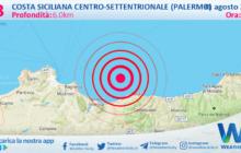 Sicilia: scossa di terremoto magnitudo 4.3 nei pressi di Costa Siciliana centro-settentrionale (Palermo)
