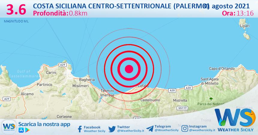 Sicilia: scossa di terremoto magnitudo 3.6 nei pressi di Costa Siciliana centro-settentrionale (Palermo)