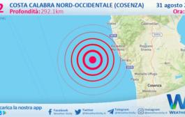 Sicilia: scossa di terremoto magnitudo 3.2 nei pressi di Costa Calabra nord-occidentale (Cosenza)