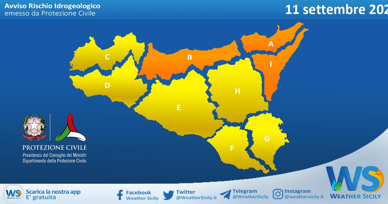 Sicilia: emessa allerta meteo arancione tra palermitano e messinese per sabato 11 settembre 2021