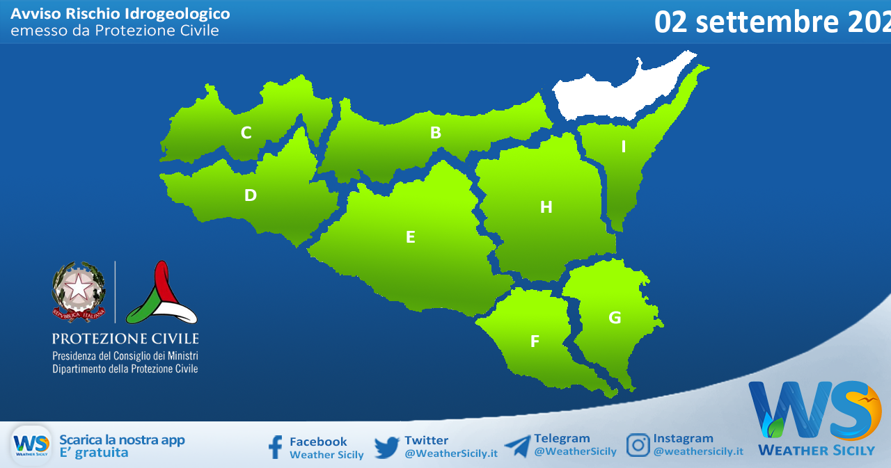 Sicilia: avviso rischio idrogeologico per giovedì 02 settembre 2021