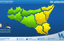 Sicilia: avviso rischio idrogeologico per lunedì 06 settembre 2021