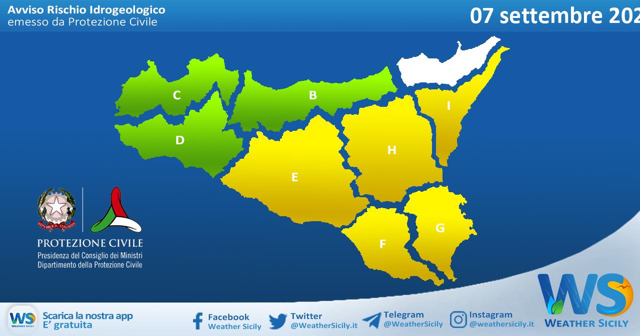 Sicilia: avviso rischio idrogeologico per martedì 07 settembre 2021