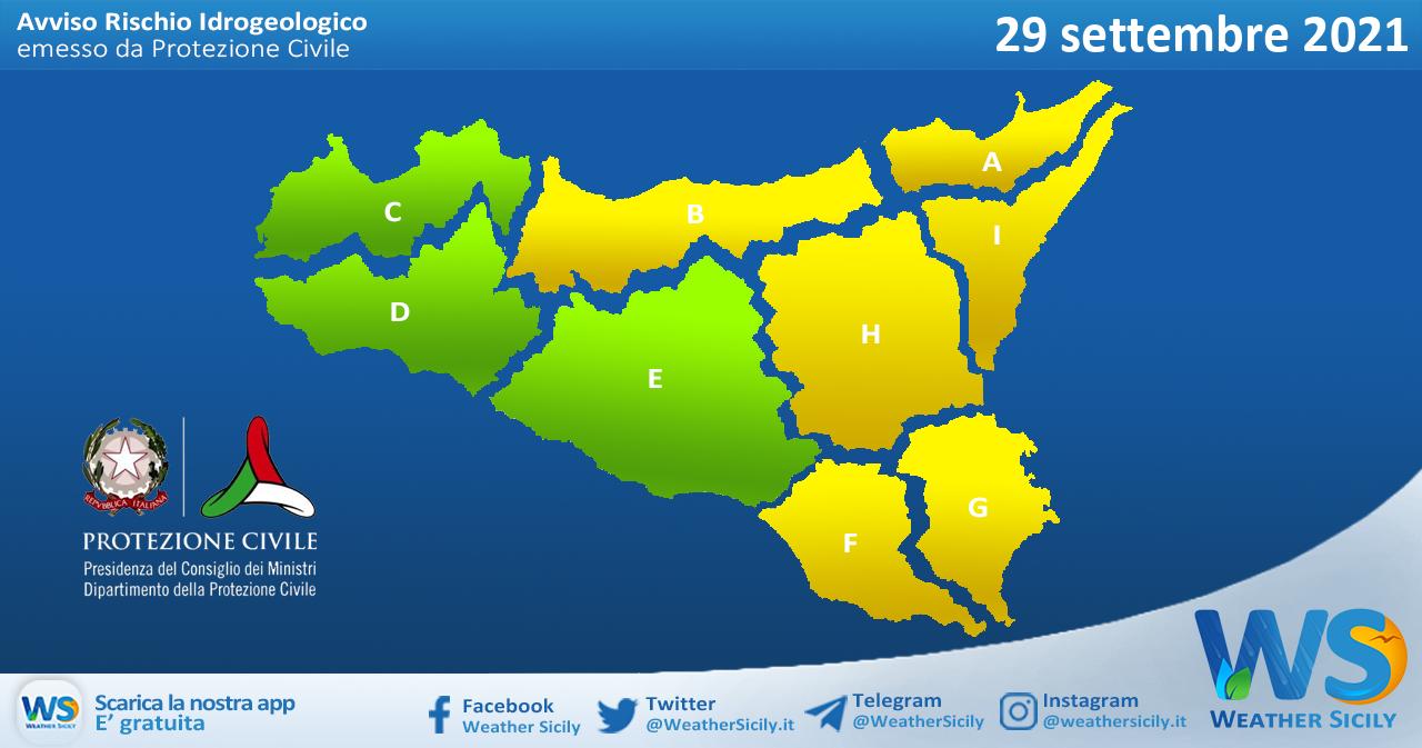 Emessa allerta meteo gialla su Sicilia settentrionale e orientale per mercoledì 29 settembre 2021