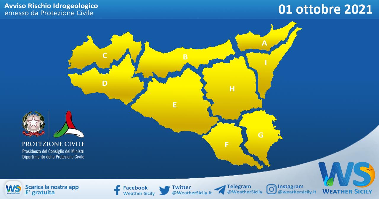 Sicilia: emessa allerta meteo gialla su tutta l'isola per venerdì 01 ottobre 2021