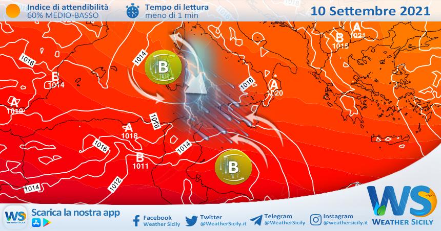 Sicilia: venerdì nuovo peggioramento prossimo ad estendersi al weekend.