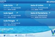 Sicilia, isole minori: condizioni meteo-marine previste per mercoledì 08 settembre 2021