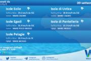 Sicilia, isole minori: condizioni meteo-marine previste per giovedì 09 settembre 2021