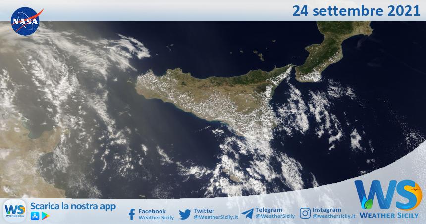Sicilia: immagine satellitare Nasa di venerdì 24 settembre 2021