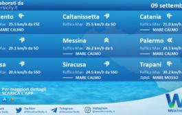 Sicilia: condizioni meteo-marine previste per giovedì 09 settembre 2021