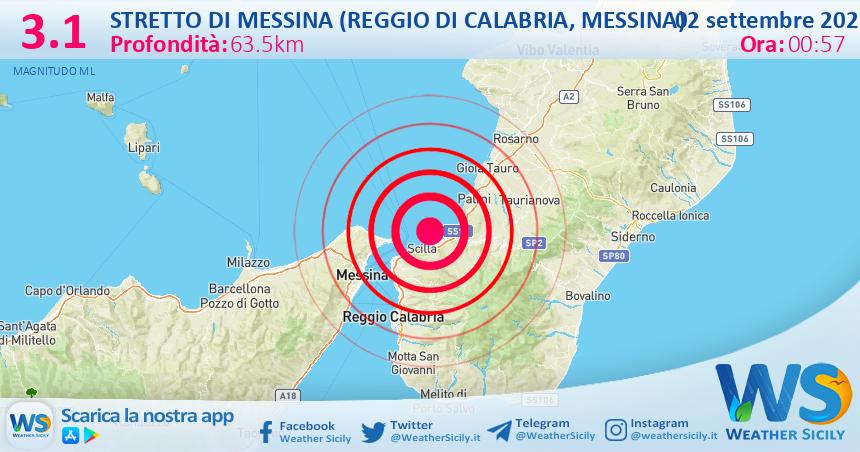 Sicilia: scossa di terremoto magnitudo 3.1 nei pressi di Stretto di Messina (Reggio di Calabria, Messina)