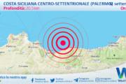 Sicilia: scossa di terremoto magnitudo 2.5 nei pressi di Costa Siciliana centro-settentrionale (Palermo)