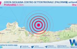 Sicilia: scossa di terremoto magnitudo 2.7 nei pressi di Costa Siciliana centro-settentrionale (Palermo)