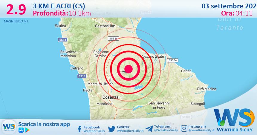 Sicilia: scossa di terremoto magnitudo 2.9 nei pressi di Acri (CS)