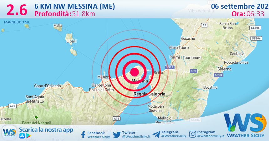 Sicilia: scossa di terremoto magnitudo 2.6 nei pressi di Messina (ME)