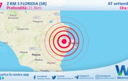 Sicilia: scossa di terremoto magnitudo 2.7 nei pressi di Floridia (SR)