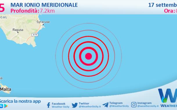Sicilia: scossa di terremoto magnitudo 2.5 nel Mar Ionio Meridionale (MARE)