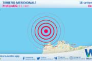 Sicilia: scossa di terremoto magnitudo 3.0 nel Tirreno Meridionale (MARE)