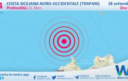 Sicilia: scossa di terremoto magnitudo 3.4 nei pressi di Costa Siciliana nord-occidentale (Trapani)