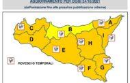 Sicilia: La Protezione Civile lancia nuova allerta meteo per domenica 24 ottobre 2021.