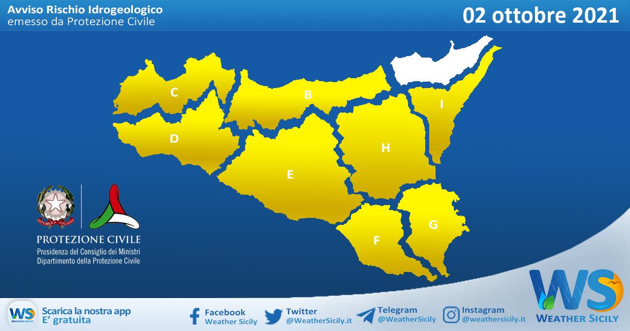 Sicilia: avviso rischio idrogeologico per sabato 02 ottobre 2021
