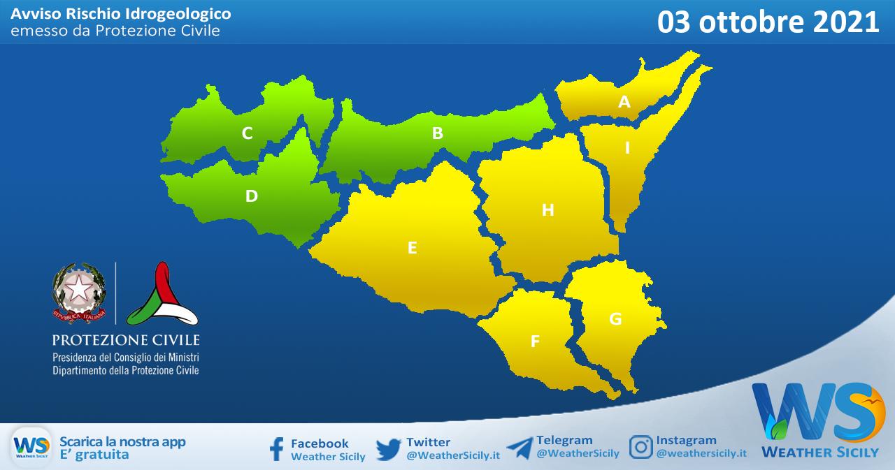 Sicilia: avviso rischio idrogeologico per domenica 03 ottobre 2021