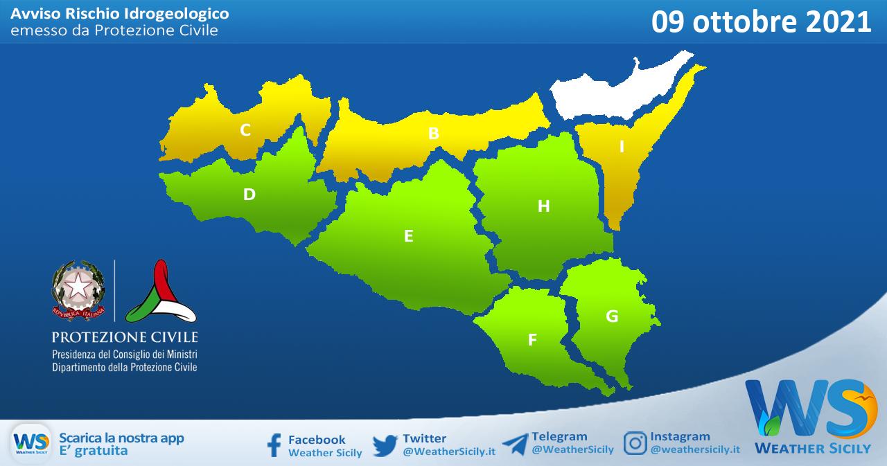 Sicilia: avviso rischio idrogeologico per sabato 09 ottobre 2021