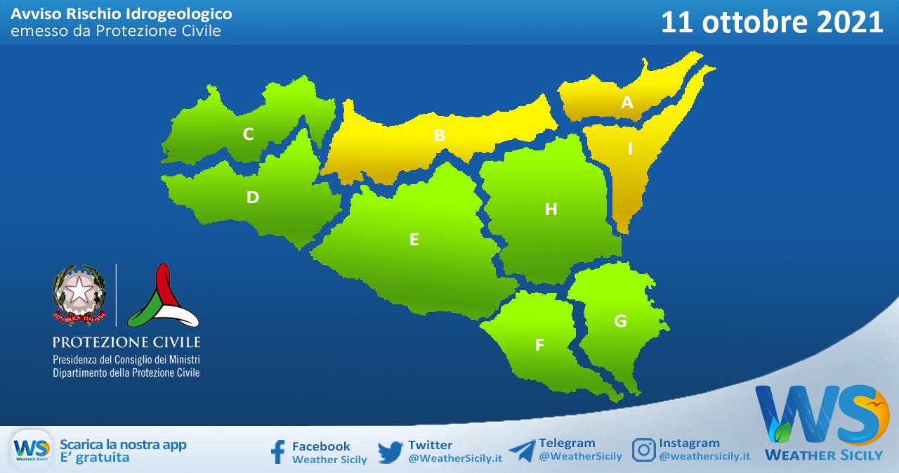 Sicilia: avviso rischio idrogeologico per lunedì 11 ottobre 2021