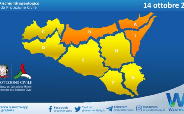 Sicilia: emessa allerta meteo arancione tra palermitano, messinese e alto catanese per giovedì 14 ottobre 2021
