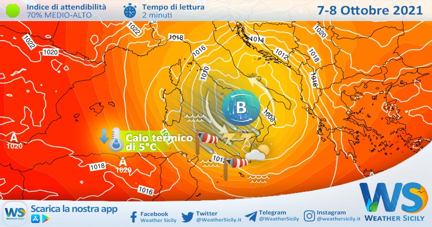 Sicilia, intensa perturbazione da giovedì: rovesci, temporali, forti venti e brusco calo termico. Attesa neve sull'Etna.