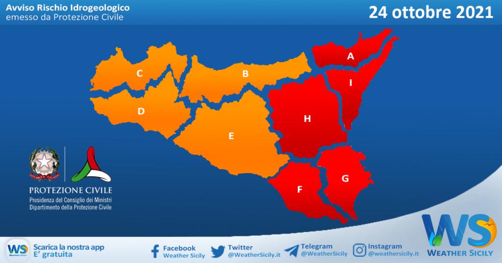 Sicilia: emessa allerta meteo rossa fino alla mezzanotte di oggi sul settore orientale. Arancione altrove.