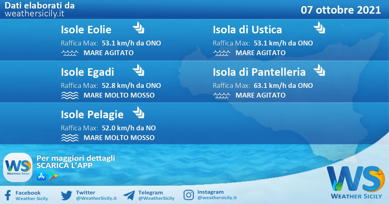 Sicilia, isole minori: condizioni meteo-marine previste per giovedì 07 ottobre 2021