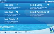 Sicilia, isole minori: condizioni meteo-marine previste per giovedì 21 ottobre 2021