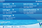 Sicilia, isole minori: condizioni meteo-marine previste per martedì 26 ottobre 2021