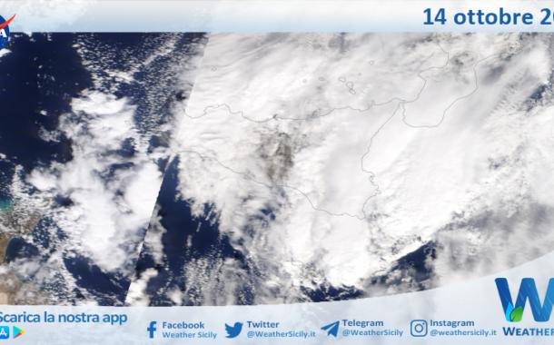 Sicilia: immagine satellitare Nasa di giovedì 14 ottobre 2021