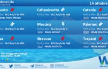 Sicilia: condizioni meteo-marine previste per giovedì 14 ottobre 2021