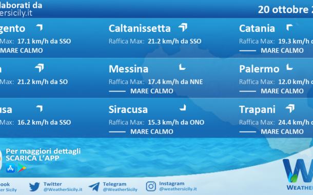 Sicilia: condizioni meteo-marine previste per mercoledì 20 ottobre 2021