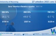Sicilia: Radiosondaggio Trapani Birgi di mercoledì 27 ottobre 2021 ore 12:00
