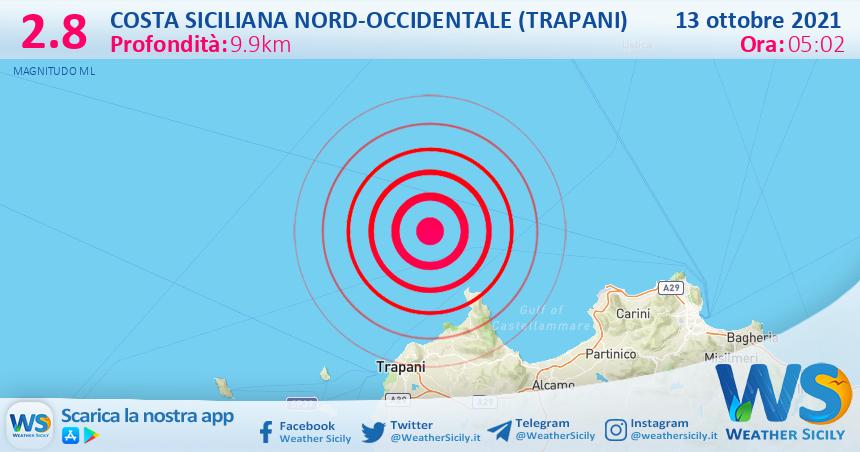 Sicilia: scossa di terremoto magnitudo 2.8 nei pressi di Costa Siciliana nord-occidentale (Trapani)