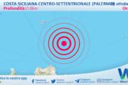 Sicilia: scossa di terremoto magnitudo 2.6 nei pressi di Costa Siciliana centro-settentrionale (Palermo)