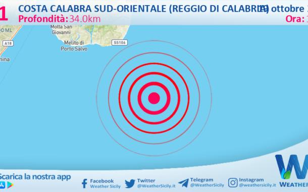 Sicilia: scossa di terremoto magnitudo 3.1 nel Mar Ionio, nei pressi di Costa Calabra sud-orientale.
